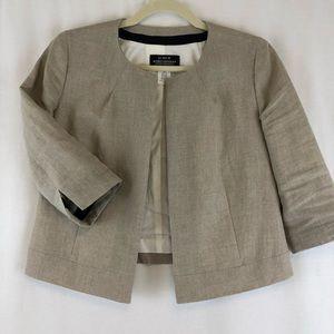 J Crew Khaki Linen Baird McNutt Open Jacket Size 4